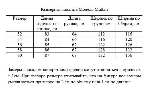 Размерная таблица Модель Майли