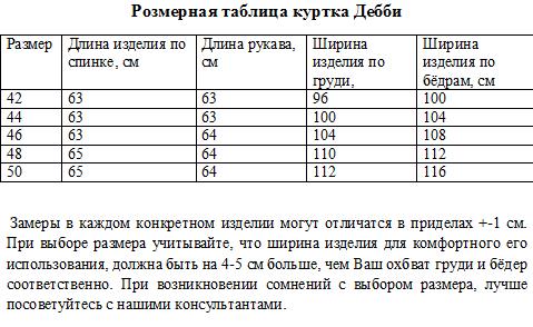 Размерная таблица Дебби