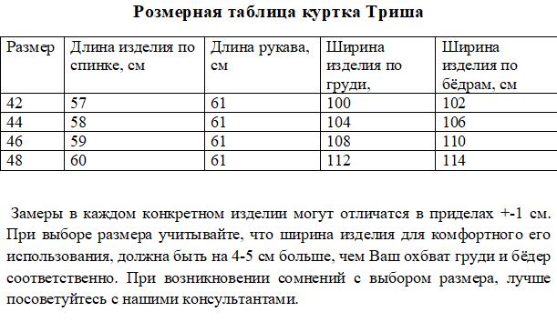 Размерная таблица куртки Триша