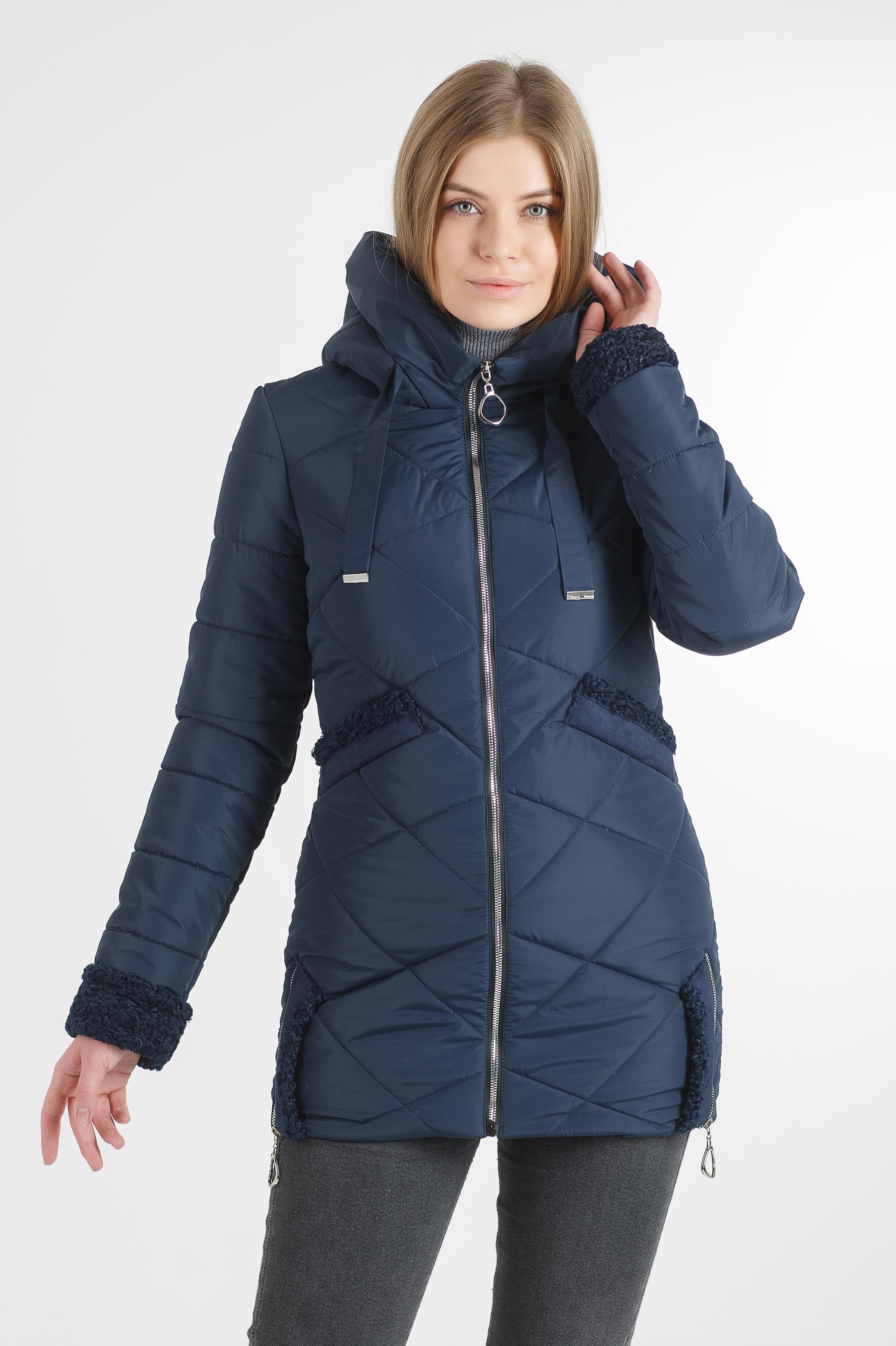 Тепла демісезонна подовжена синя куртка Фоксі