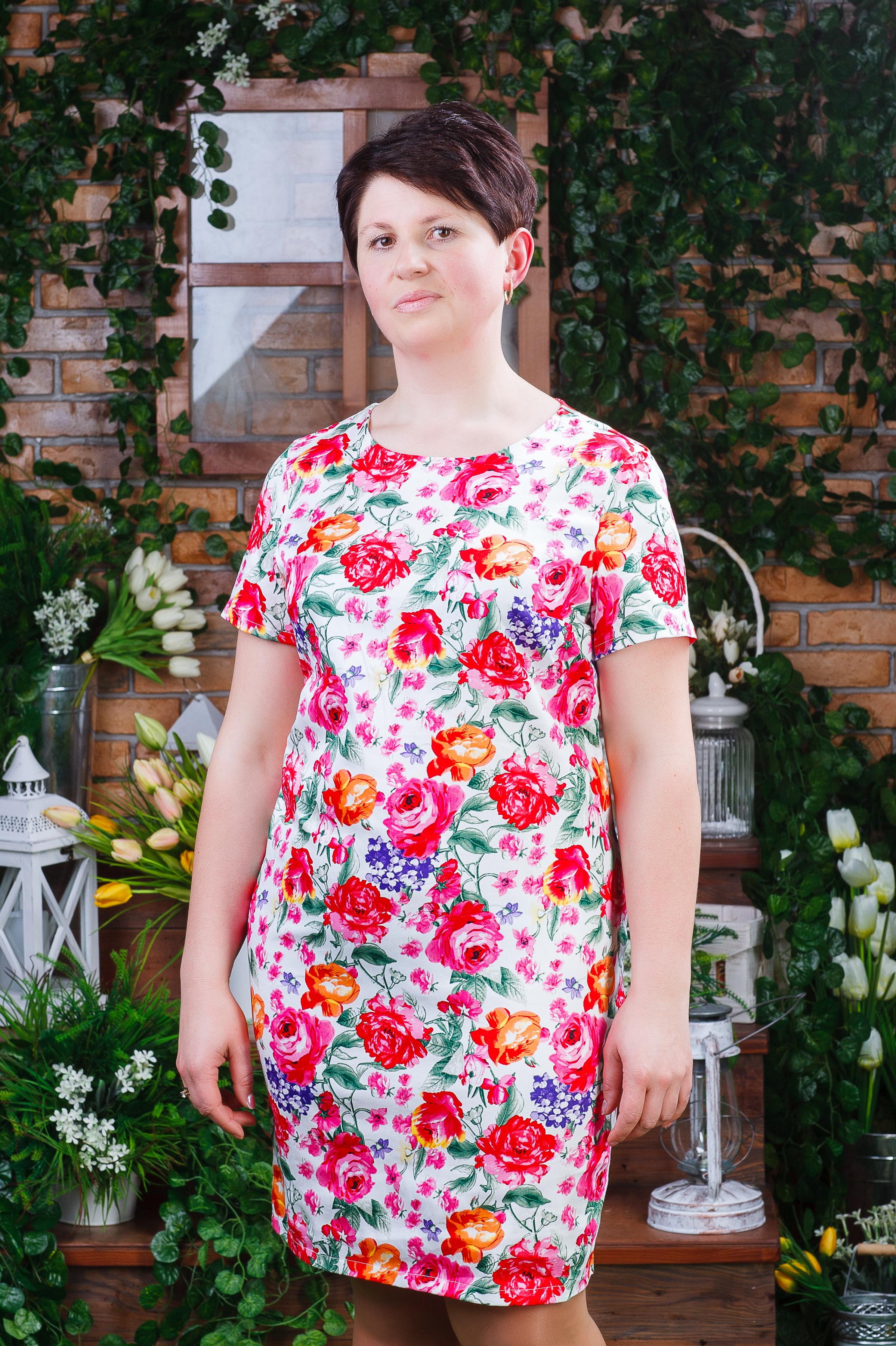 Стильное женское платье из стрейч-коттона белое