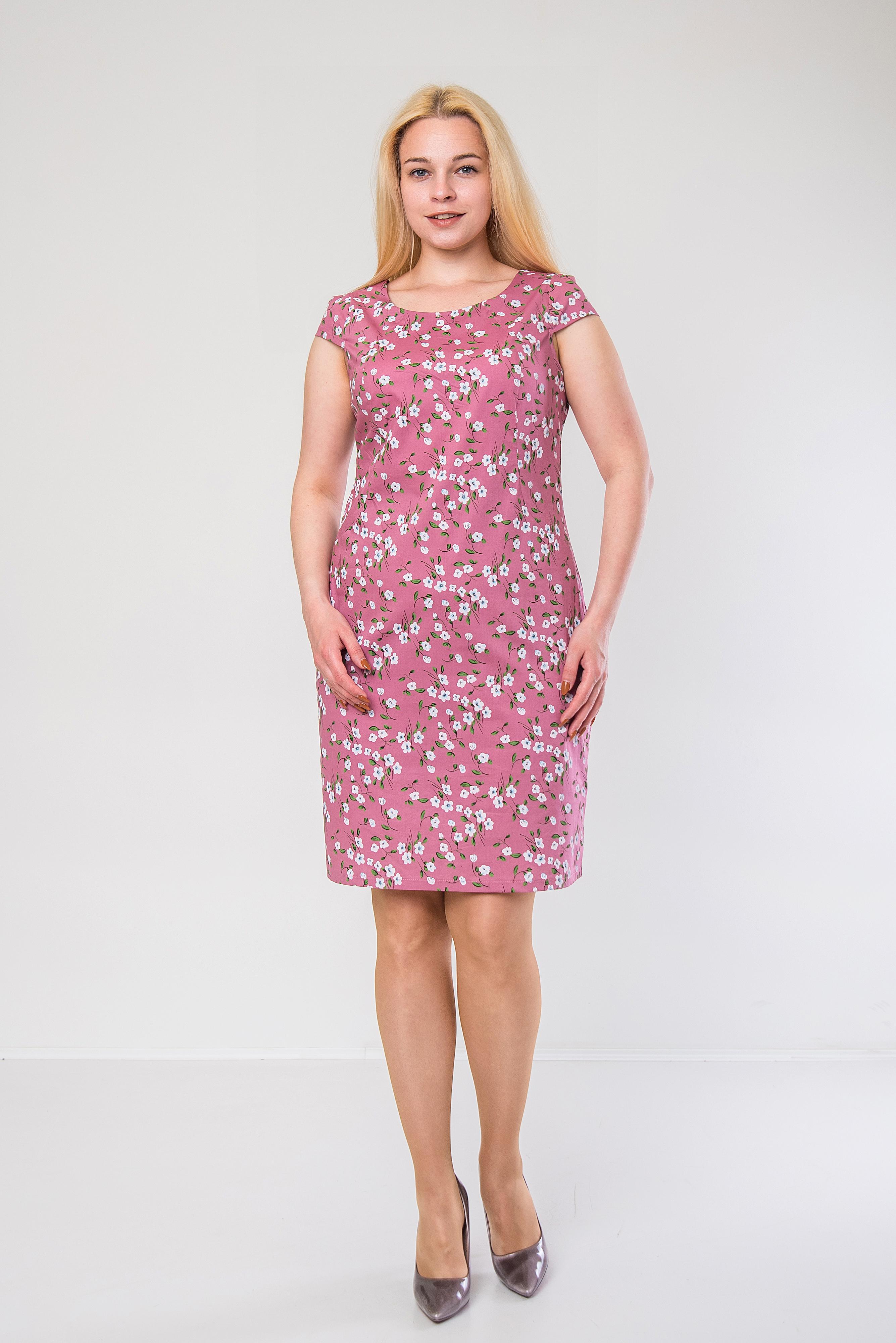 Лёгкое платье-футляр из стрейч-котона п-658 розовое