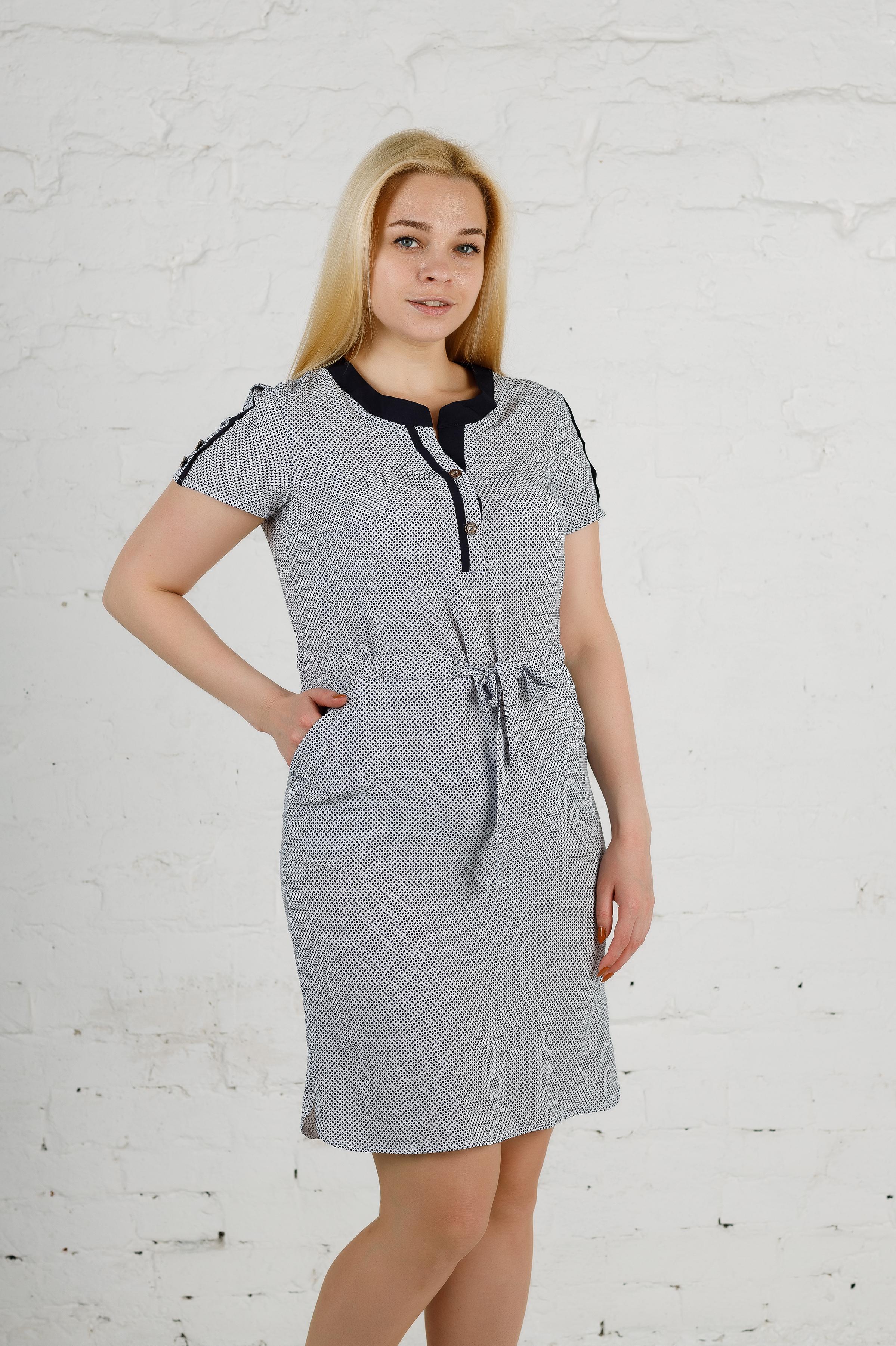 Стильное платье из софта п-638 молочное