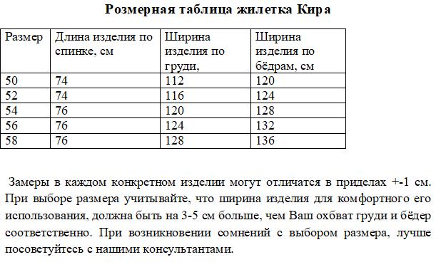 Размерная таблица жилетка Кира